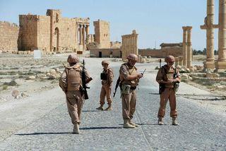Rússneskir hermenn í borginni Palmyra.