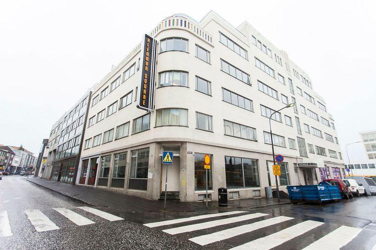 Hlemmur Square hotel, on the corner of Laugavegur and Snorrabraut.