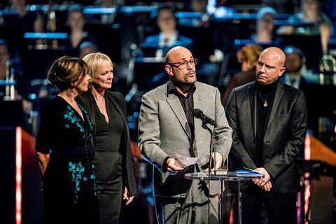 Director Benedikt Erlingsson in Oslo last night with scriptwriter Ólafur Egilsson, and producers Marianne Slot and Carine Leblanc.