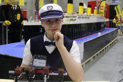 Brynjar Karl Birgisson við Titanic-líkan sitt á sýningu í Noregi fyrir tveimur árum.