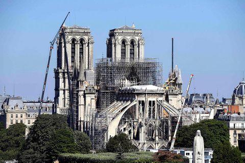Notre-Dame eftir eldsvoðann.