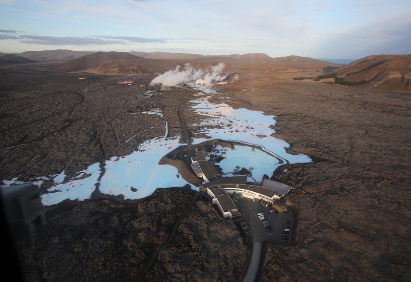 The Blue Lagoon. Þorbjörn mountain is on the right. Scientists report that magma is possibly accumulating west of the mountain.