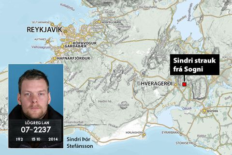 Sindri Þór Stefánsson escaped from Sognið prison on Tuesday