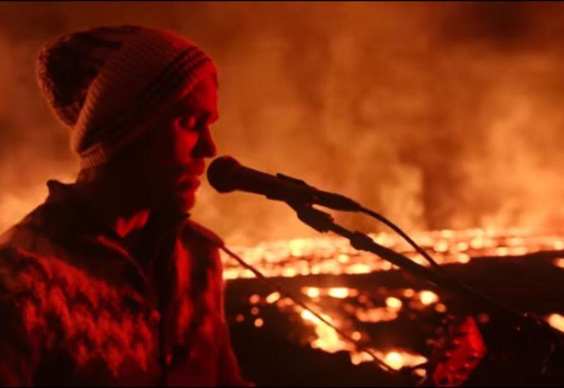 Jökull Júlíusson, a.k.a. JJ Julius Son, performing on Fagradalsfjall mountain.
