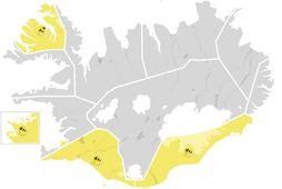 Gular viðvaranir verða í gildi á Suðurlandi, Suðvesturlandi og Vestfjörðum síðar í dag.