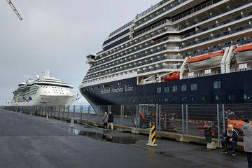 A cruise liner in Reykjavik harbour.