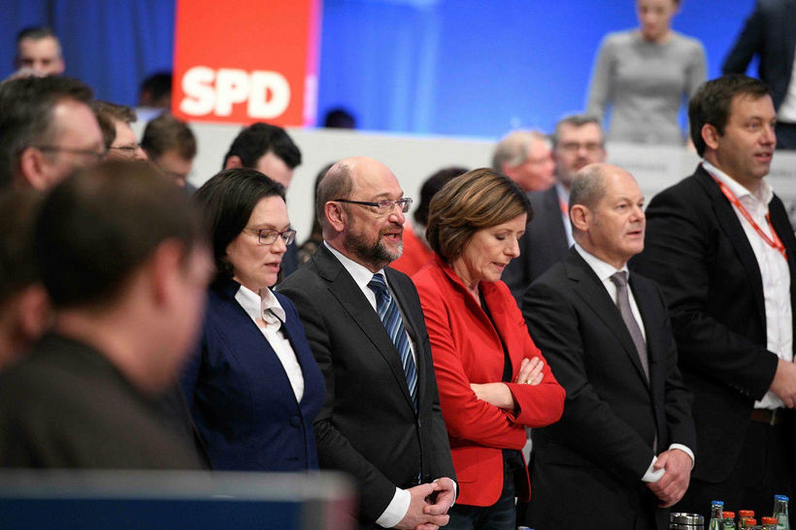 Martin Schulz, leiðtogi Jafnaðarmanna í Þýskalandi, á fundi flokksins í …