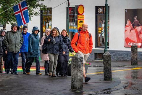 Tourists on Skólavörðustígur, Reykjavík.