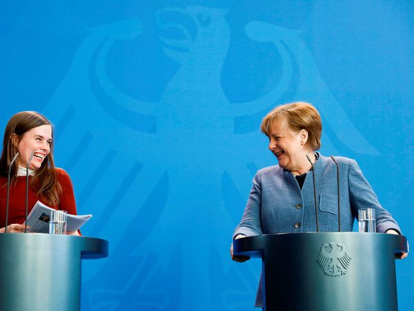 Jakobsdóttir and Merkel at a press meeting this afternoon in Berlin.