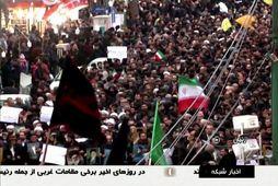 Hér ganga stuðningsmenn stjórnvalda í Íran um götur í borginni Zanjan.