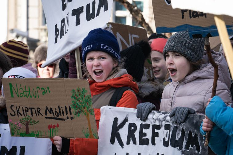 Icelandic children on climate strike last Friday, demanding that the government take more action to ...