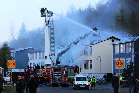 Firefighters at work in Akureyri, North Iceland.