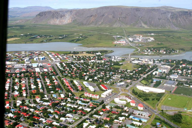From Selfoss. The Ölfusá river passes through the town.