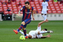 Lionel Messi verður í eldlínunni með Barcelona í Meistaradeildinni í kvöld.