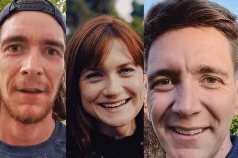 James Phelps, Bonnie Wright og Oliver Phelps eru á Íslandi.
