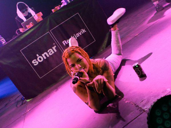 Icelandic rapper Alvia Islandia.