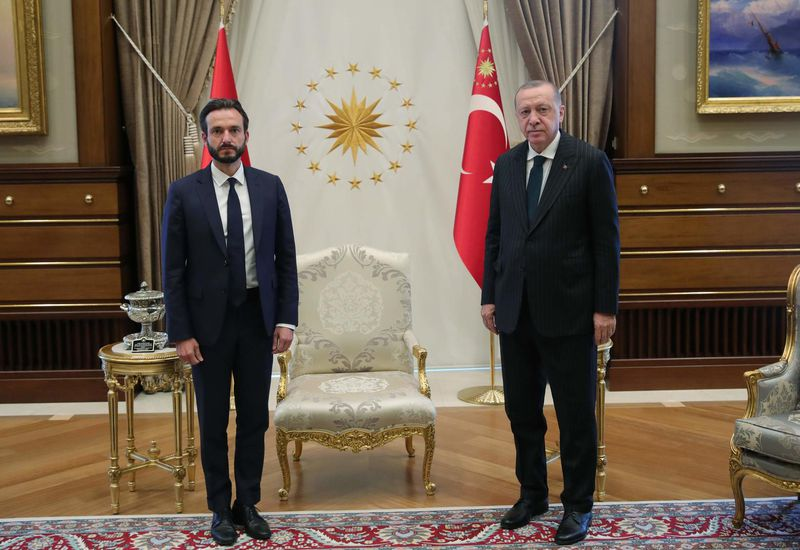 Róbert Spanó with Turkish President Recep  Erdoğan, Friday.