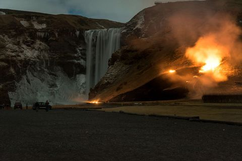 A photo of the fire spreading at Skógafoss.