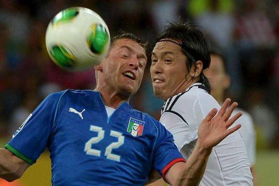 Emanuele Giaccherini í leik með Ítalíu gegn Japan í Álfukeppninni í sumar. Hann er kominn …
