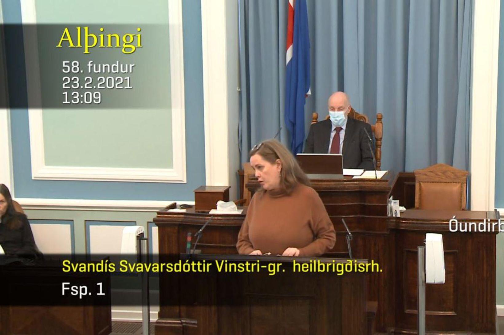 Svandís Svavarsdóttir heilbrigðisráðherra og Logi Einarsson, formaður Samfylkingarinnar, tókust á …