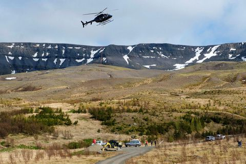 The helicopter, over Esja mountain yesterday.