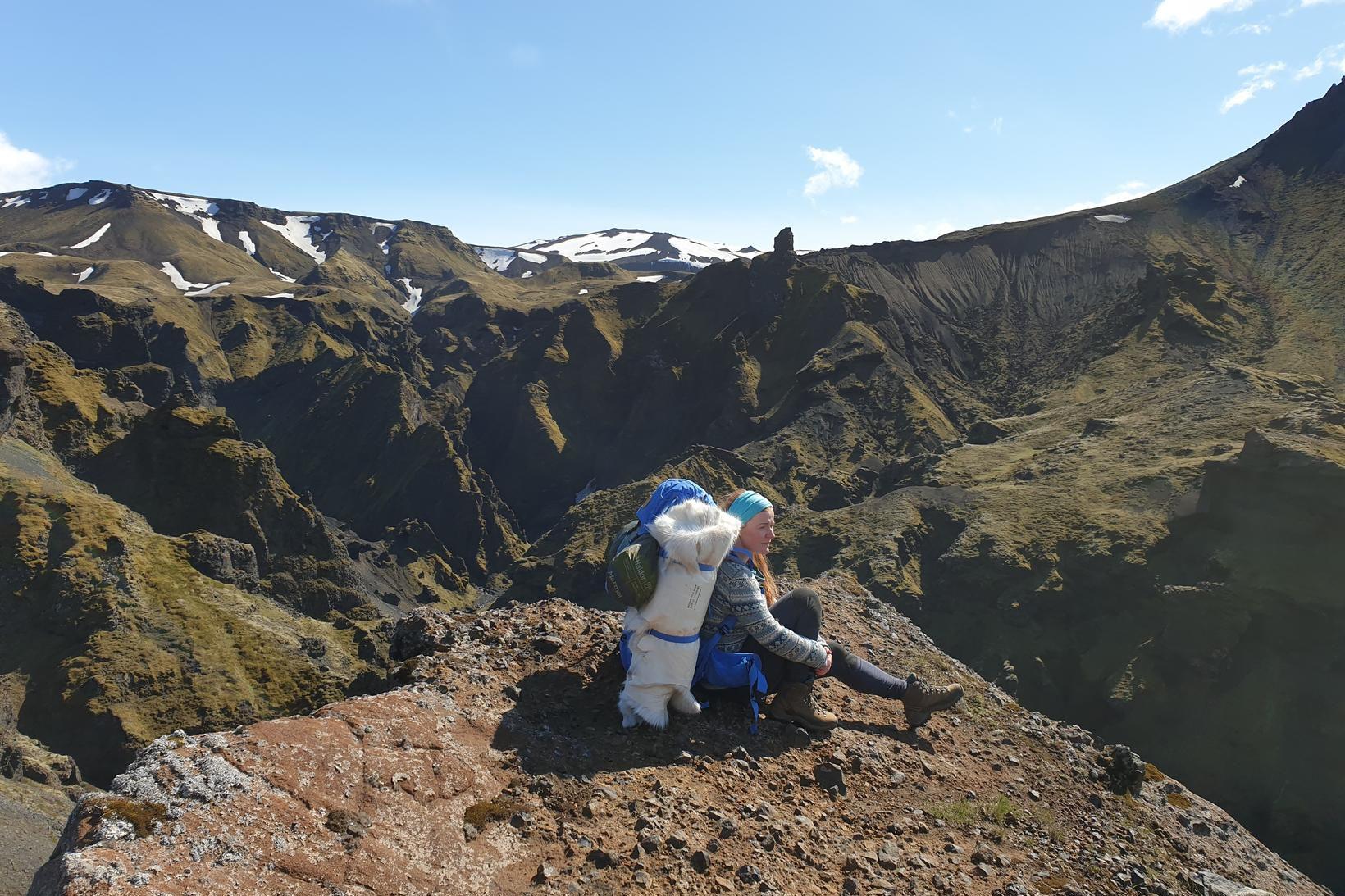 Valgerður á Fimmvörðuhálsi.