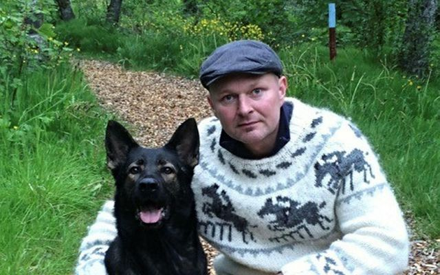 Steinar Gunnarsson in the company of a dog. It is not clear whether the dog ...