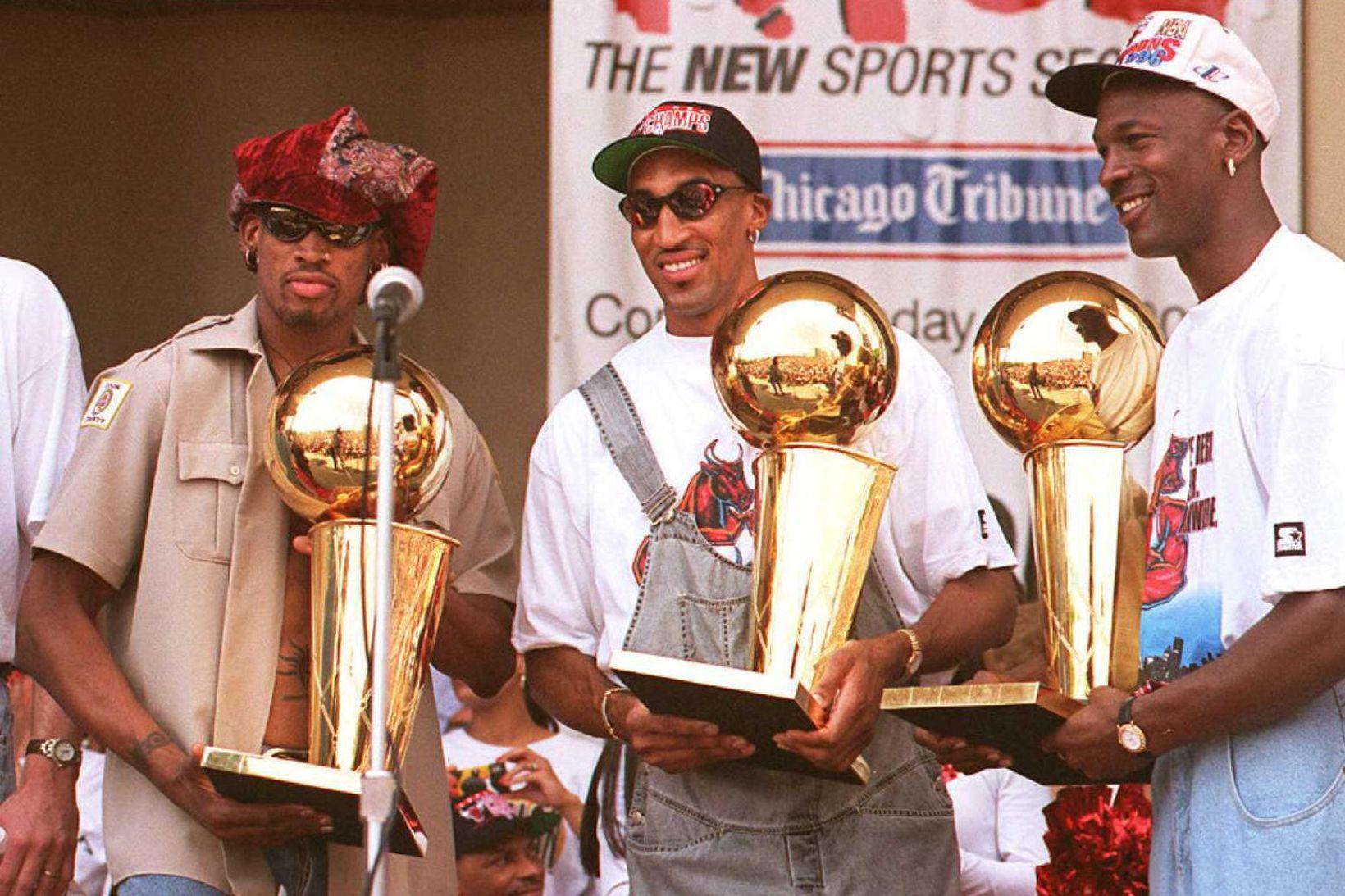 Michael Jordan vann NBA-deildina sex sinnum með Scottie Pippen og …