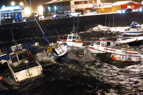 Boats tossed about in Reykjavik harbour.