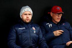 Eiður Benedikt Eiríksson og Pétur Pétursson, þjálfarar Vals.