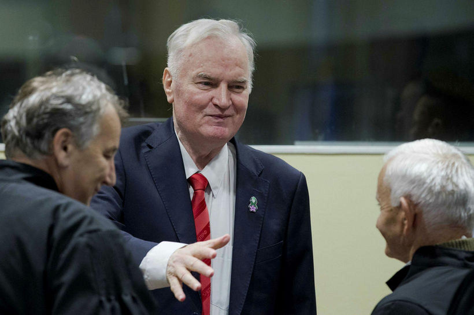 Ratko Mladic fyrir dómi í morgun.
