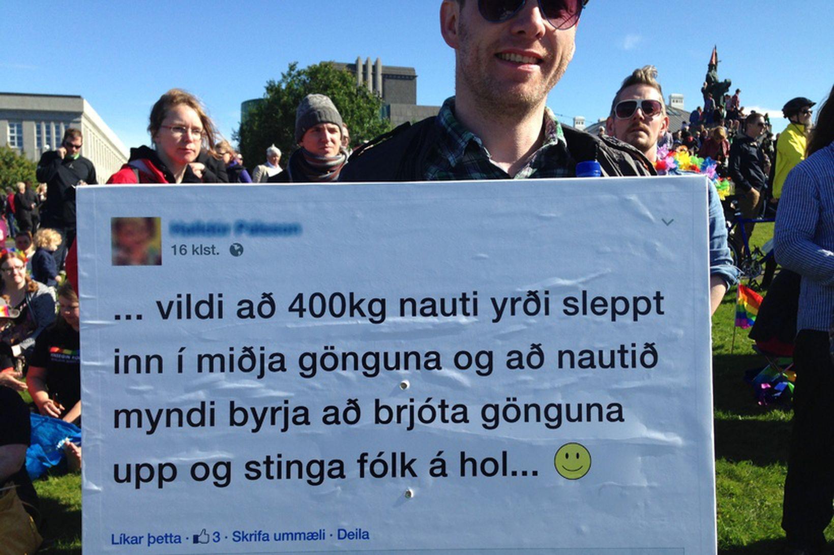 Samtökin '78 fundu ummæli á netinu og prentuðu á skilti …