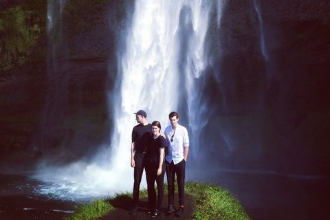 The xx at Skógarfoss waterfall in Iceland.