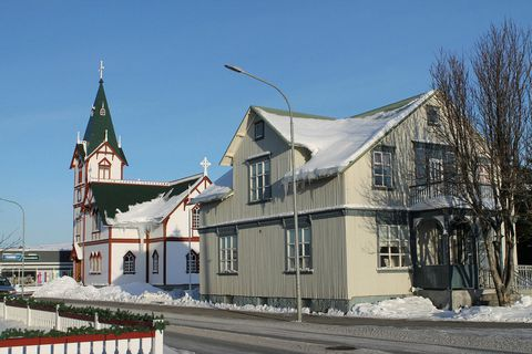 The church and congregation hall in Húsavík.