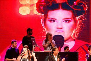 Hin ísraelska Netta Barzilai, sem sigraði í Eurovision í ár, á tónleikum í Tel Aviv ...