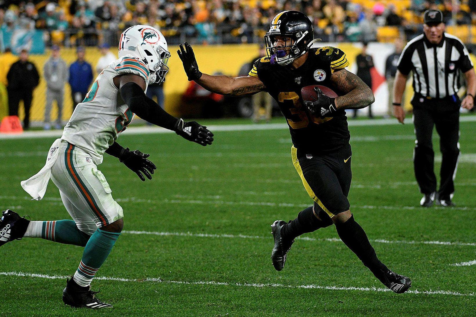 Frá leik Pittsburgh Steelers og Miami Dolphins í bandaríski NFL-deildinni.