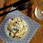 Fljótlegt pastasalat með parmesan og spínati