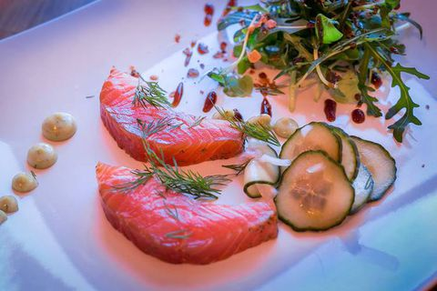 Cured salmon is a popular dish in Iceland