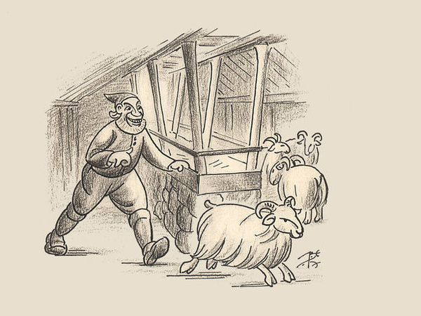 Stekkjarstaur, the first and tallest of the yule lads, as he was illustrated in the famous verses by Jóhannes úr Kötlum.