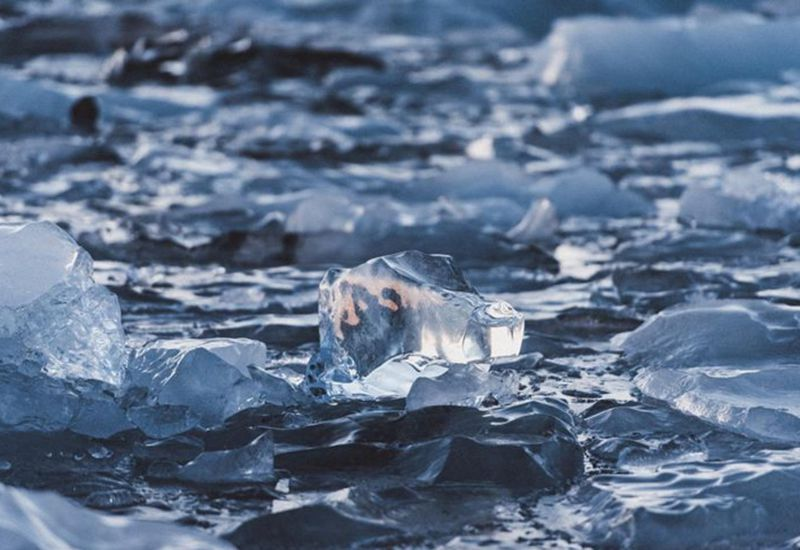 Nature sure makes it look like a polar bear is swimming in Jökulsárlón glacial lagoon.