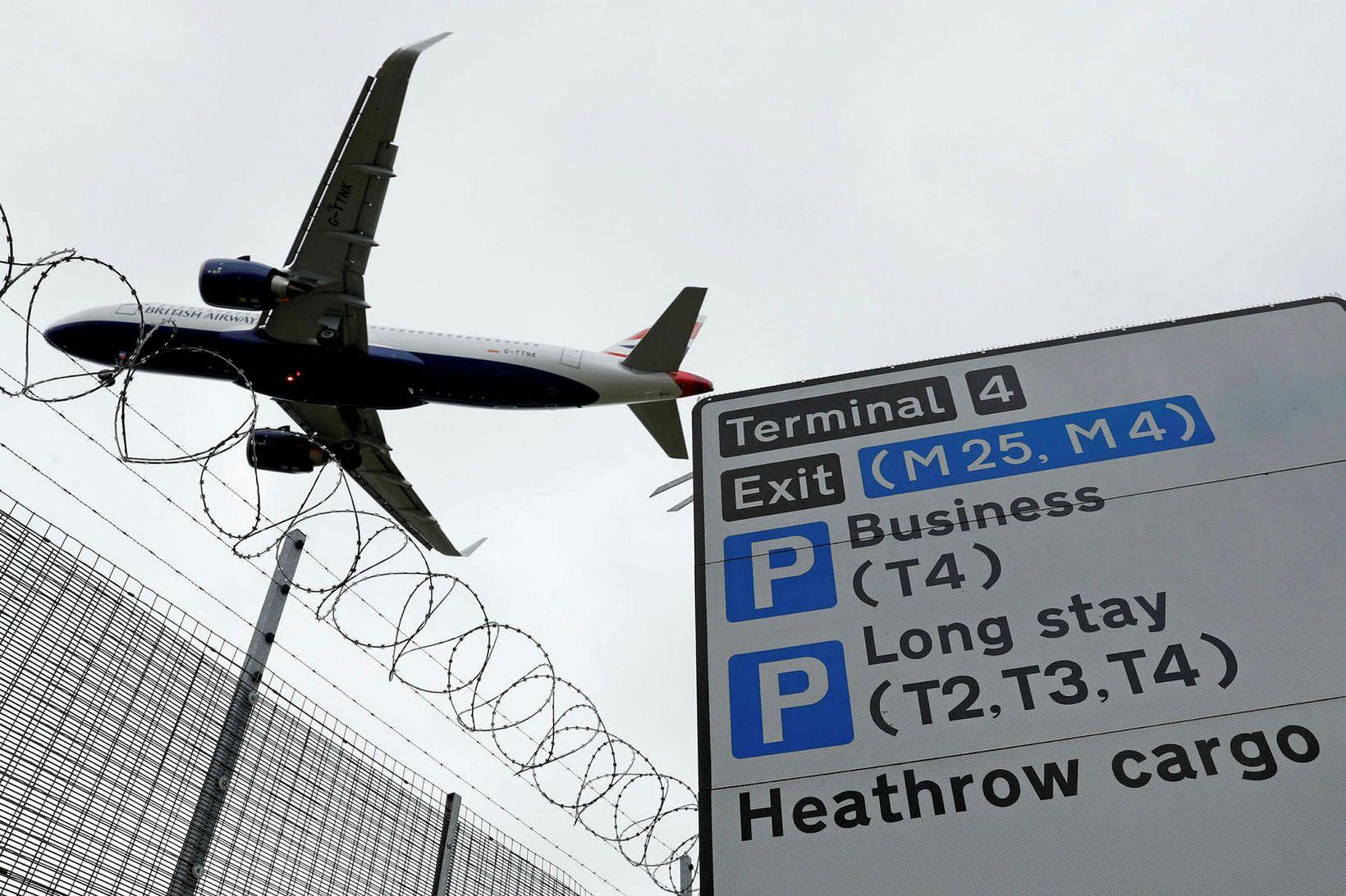 Frá Heathrow-flugvelli í Bretlandi.