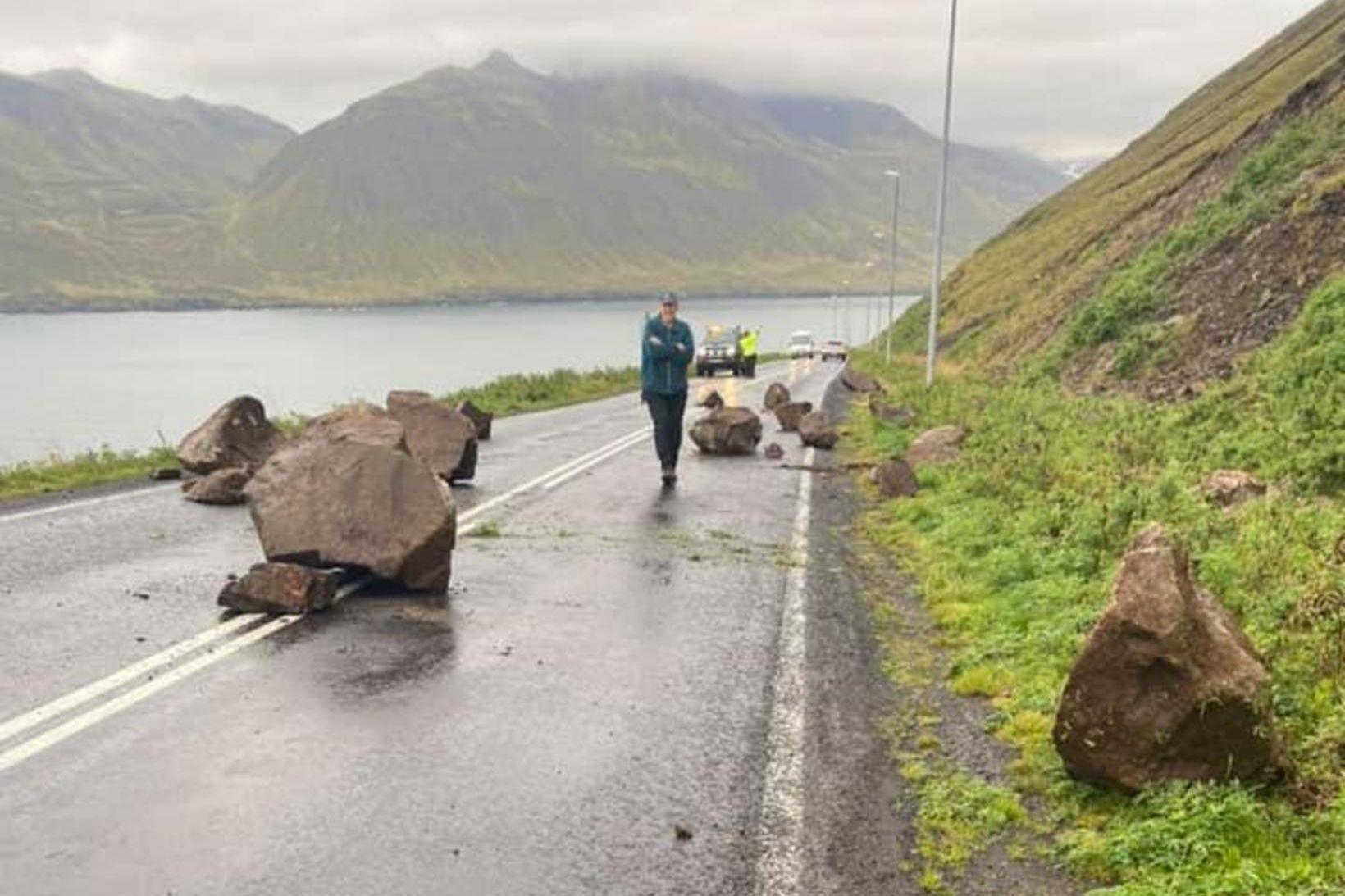 Svona var aðkoman á Siglufjarðarvegi í morgun.