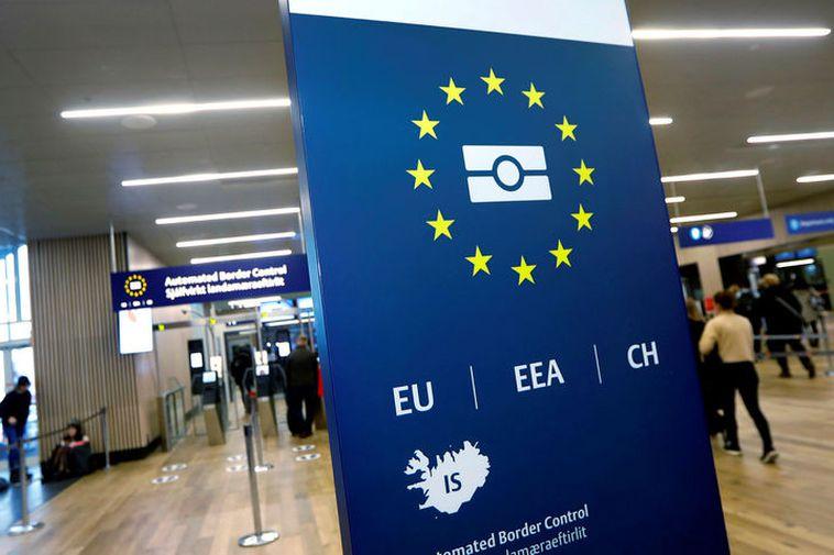 Passport controls at Keflavik International Airport.