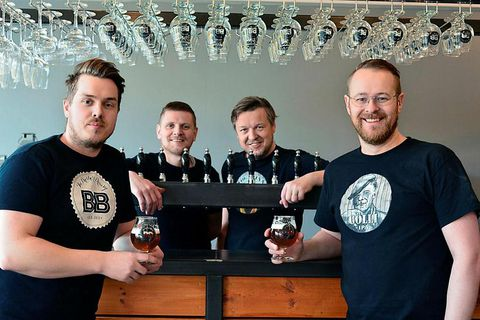 Owners and staff of the Brothers Breerry from left to right: Hlynur Vídó Ólafsson, Hannes Kristinn Eiríksson, Kjartan Vídó Ólafsson and Jóhann Ólafur Guðmundsson.