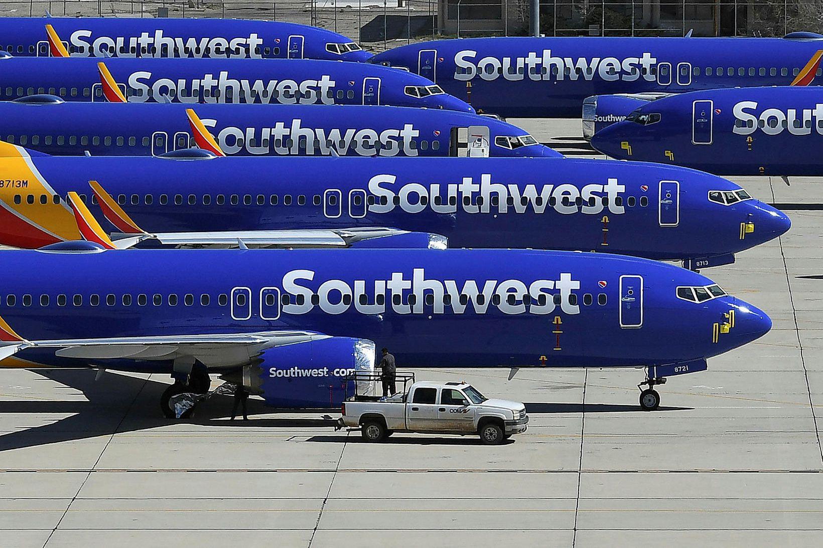 Kyrrsettar Boeing 737 MAX-flugvélar í eigu Southwest flugfélagsins í Bandaríkjunum.