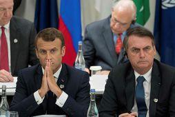Emmanuel Macron (til vinstri) og Jair Bolsonaro í júní síðastliðnum.