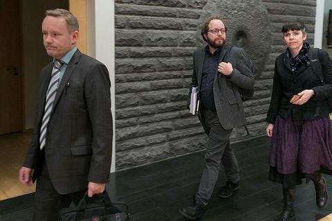 Pirate MPs Einar Brynjólfsson (left), Smári McCarthy (centre) and Birgitta Jónsdóttir (right).