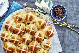 Hot cross buns, brauðbollur sem Englendingar borða alltaf á föstudeginum langa.
