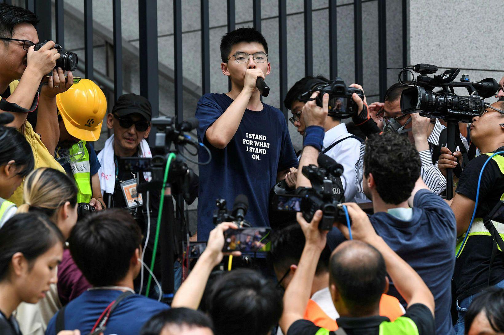 Frá mótmælum í Hong Kong í fyrra, sem urðu til …