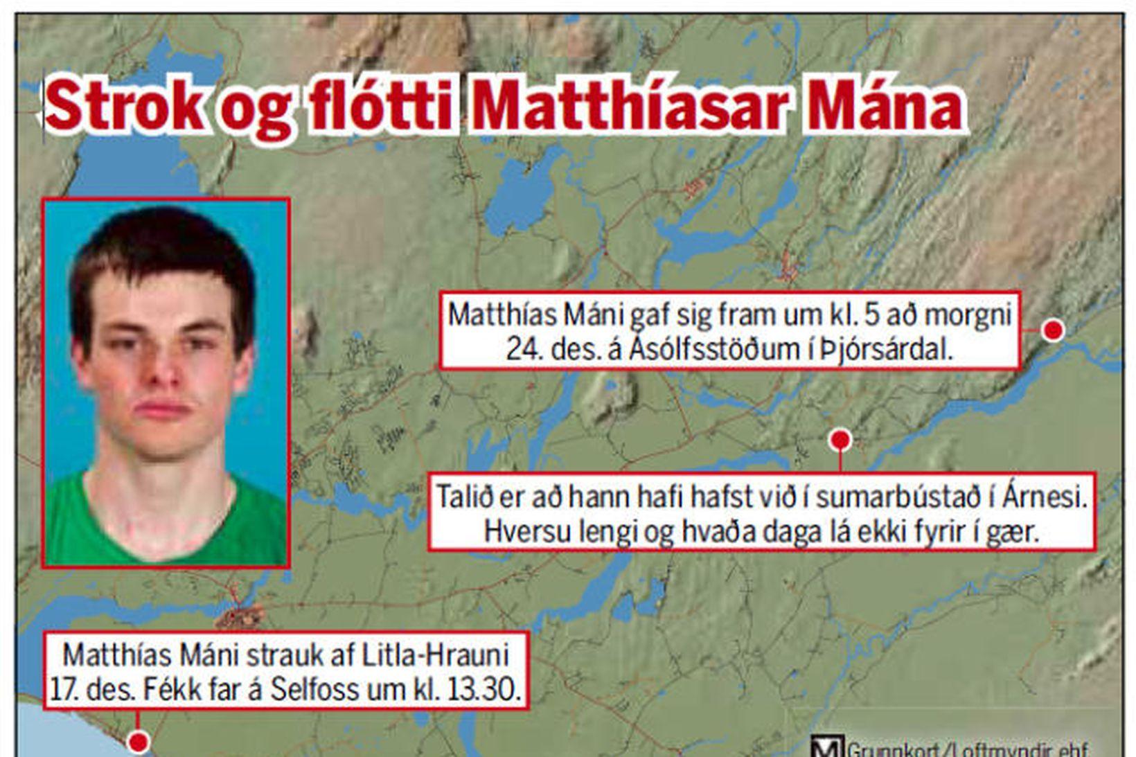 Strok og flótti Matthíasar Mána.